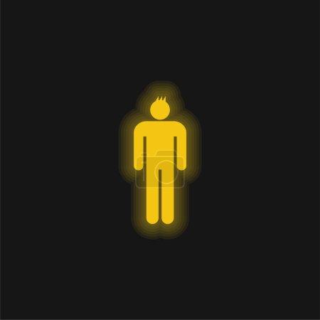 Illustration pour Garçon jaune brillant icône néon - image libre de droit