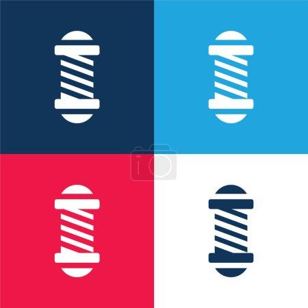 Illustration pour Salon de beauté bleu et rouge ensemble d'icônes minimes quatre couleurs - image libre de droit