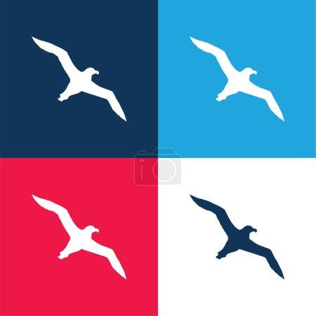 Photo pour Oiseau Albatros Flying Shape bleu et rouge quatre couleurs minimum jeu d'icônes - image libre de droit