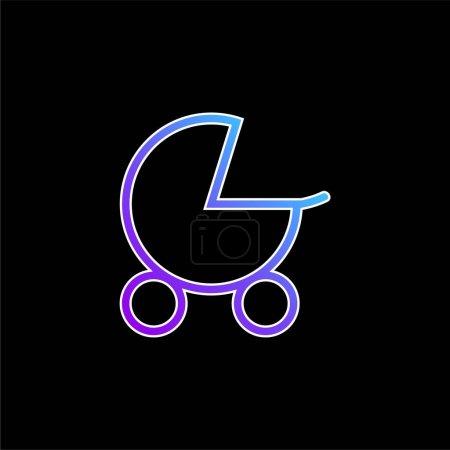 Photo pour Poussette bébé bleu dégradé icône vectorielle - image libre de droit