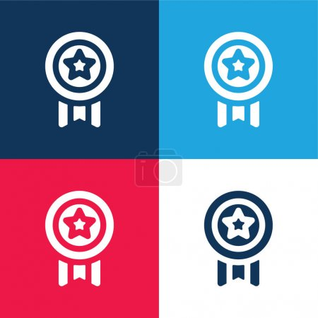Achievement blue and red four color minimal icon set