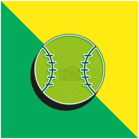 Béisbol verde y amarillo moderno vector 3d icono del logotipo
