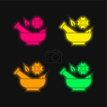 Illustration for Aromatherapy four color glowing neon vector icon - Royalty Free Image