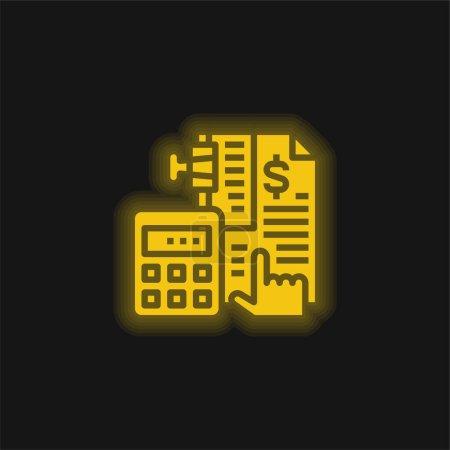 Illustration pour Comptabilité jaune brillant icône néon - image libre de droit