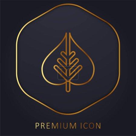 Bodhi Leaf golden line premium logo or icon