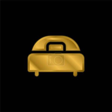 Illustration pour Lit plaqué or icône métallique ou logo vecteur - image libre de droit