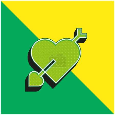 Arrow Green and yellow modern 3d vector icon logo