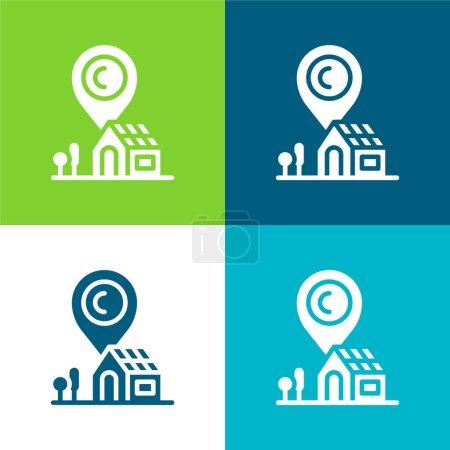 Dirección Plano de cuatro colores mínimo icono conjunto