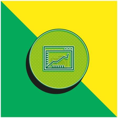 Illustration pour Ligne ascendante graphique sur une fenêtre de navigateur à l'intérieur d'un cercle vert et jaune logo icône vectorielle 3D moderne - image libre de droit