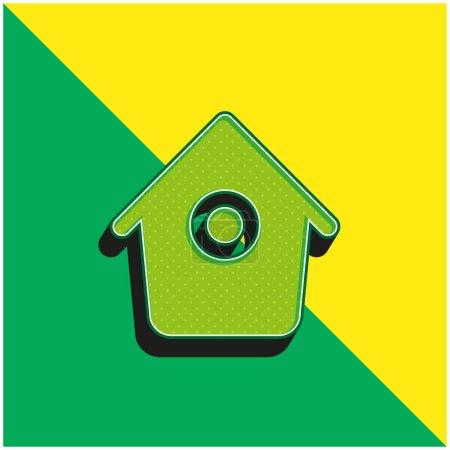Illustration pour Bird House avec petit trou rond Logo vectoriel 3d moderne vert et jaune - image libre de droit