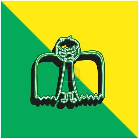 Illustration pour Garçon Avec Halloween Costume ailé Vert et jaune icône vectorielle 3D moderne logo - image libre de droit