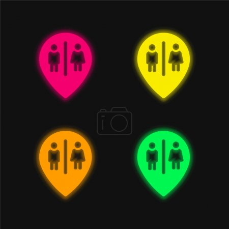 Bains Marqueur Point quatre couleur brillant néon vecteur icône