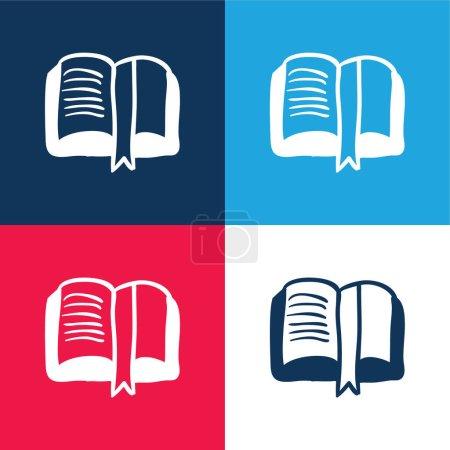 Illustration pour Livre main dessinée ouvert signet lecture outil éducatif bleu et rouge quatre couleurs minimum jeu d'icônes - image libre de droit