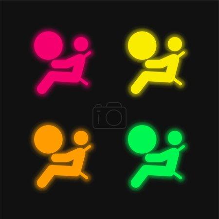 Illustration pour Airbag quatre couleurs brillant icône vectorielle néon - image libre de droit