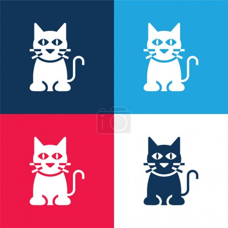 Black Cat blue and red four color minimal icon set