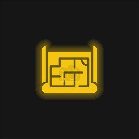 Blueprint jaune brillant icône néon