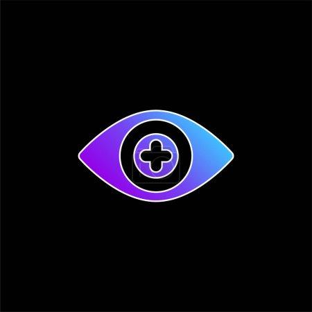 Illustration pour Icône vectorielle de dégradé bleu de lentille de contact bionique - image libre de droit