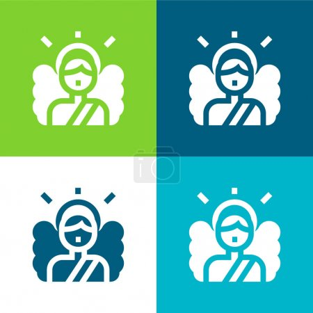 Photo for Angel Flat four color minimal icon set - Royalty Free Image