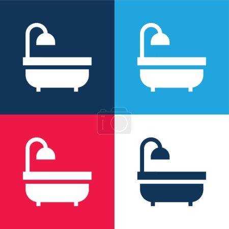 Illustration pour Baignoire bleu et rouge quatre couleurs minimum icône ensemble - image libre de droit
