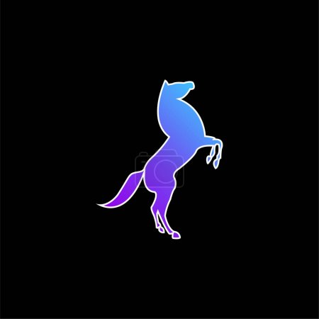 Big Horse Stand Up Pose On Back Paws blue gradient vector icon