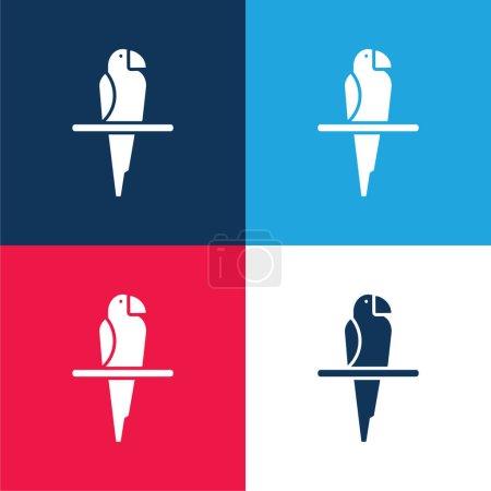 Illustration pour Ensemble d'icônes minimes bleu oiseau et rouge quatre couleurs - image libre de droit