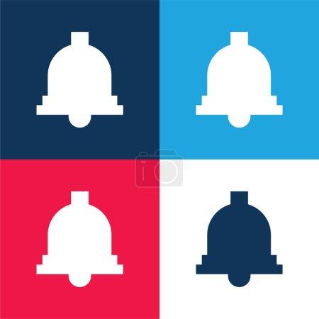 Illustration pour Ensemble d'icônes minime quatre couleurs bleu et rouge Bell - image libre de droit