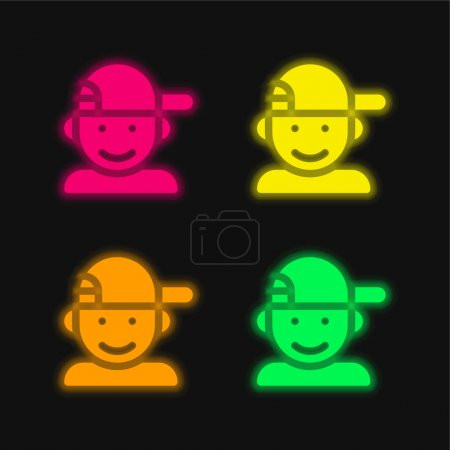 Illustration for Boy four color glowing neon vector icon - Royalty Free Image