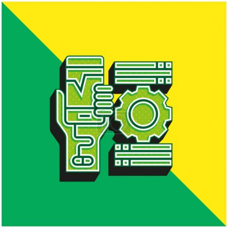 Addiction Green and yellow modern 3d vector icon logo