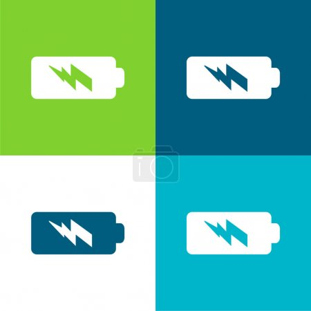 Illustration for Battery Power Flat four color minimal icon set - Royalty Free Image