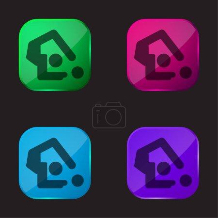 Illustration pour Gymnastique artistique icône bouton en verre quatre couleurs - image libre de droit