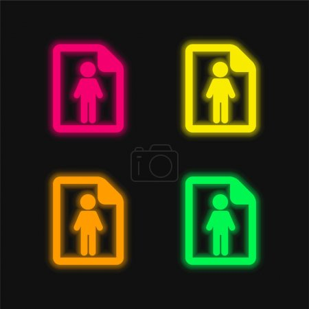 Illustration for About Successful Man four color glowing neon vector icon - Royalty Free Image