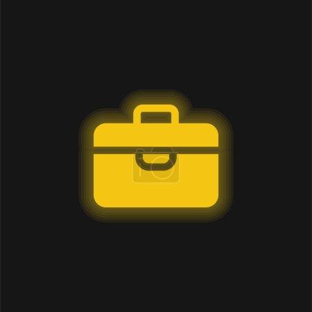 Photo pour Porte-documents jaune brillant icône néon - image libre de droit