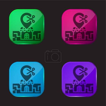 Illustration pour Barber Shop icône bouton en verre quatre couleurs - image libre de droit