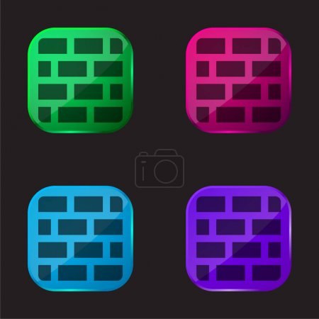Illustration for Bricks four color glass button icon - Royalty Free Image
