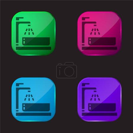 Illustration pour Bassin icône bouton en verre quatre couleurs - image libre de droit