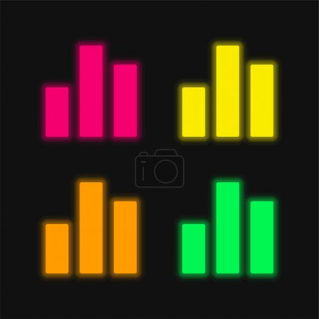 Illustration for Bar Chart four color glowing neon vector icon - Royalty Free Image