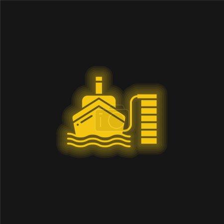 Illustration pour Bateau jaune flamboyant icône néon - image libre de droit