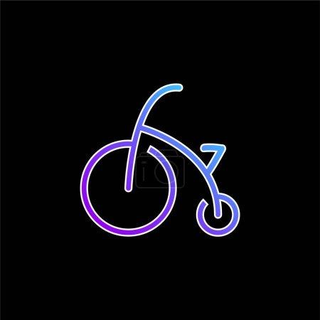 Illustration pour Vélo bébé avec roues d'entraînement icône vectorielle dégradée bleue - image libre de droit