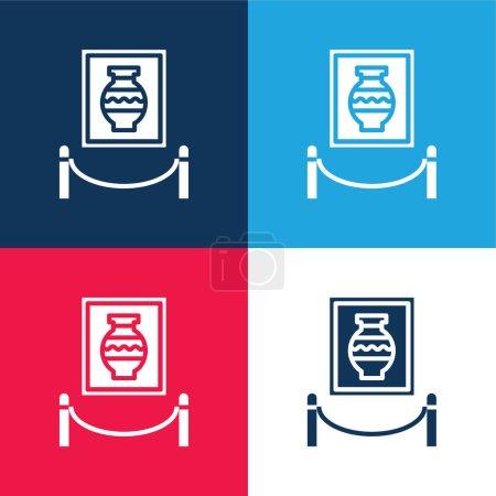 Illustration pour Art bleu et rouge quatre couleurs minimum jeu d'icônes - image libre de droit