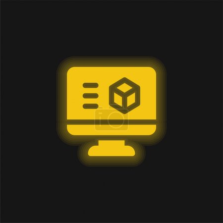 Illustration pour Logiciel d'impression 3D jaune brillant icône néon - image libre de droit