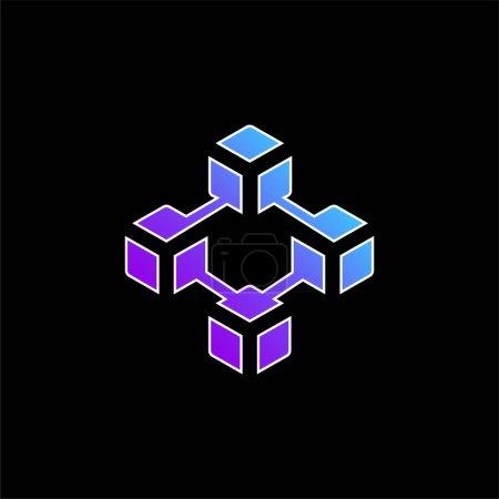 Illustration pour Icône vectorielle gradient bleu blockchain - image libre de droit