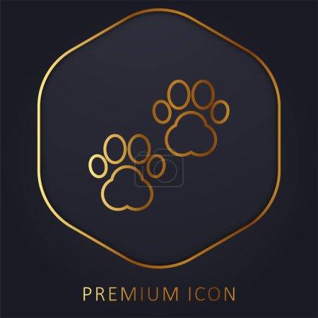 Illustration pour Impression animale ligne d'or logo premium ou icône - image libre de droit