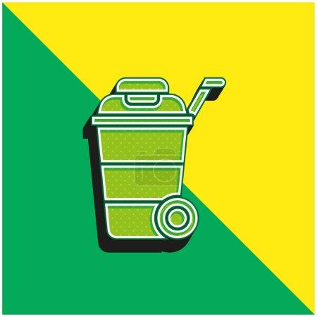 Bin Green and yellow modern 3d vector icon logo