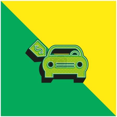 Illustration pour Voiture neuve avec étiquette de prix en dollars Logo vectoriel 3d moderne vert et jaune - image libre de droit