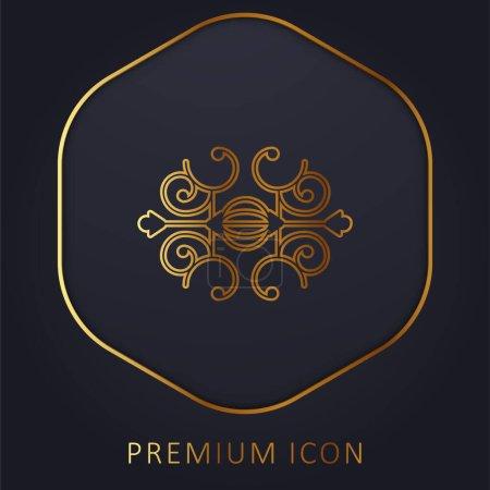 Illustration pour Boule entourée de spirales ligne d'or logo premium ou icône - image libre de droit
