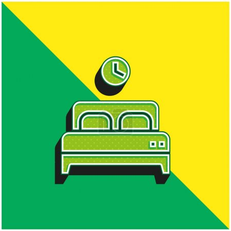 Bed Green and yellow modern 3d vector icon logo