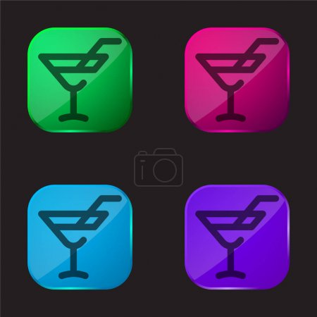 Alcoholic Drink four color glass button icon