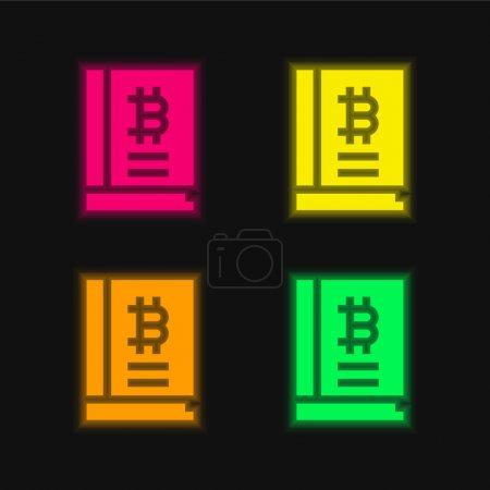 Illustration for Bitcoin four color glowing neon vector icon - Royalty Free Image