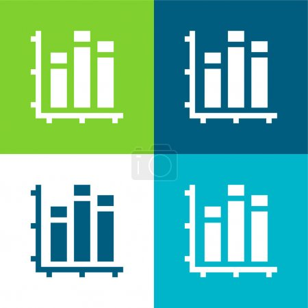 Bar Graph Flat four color minimal icon set