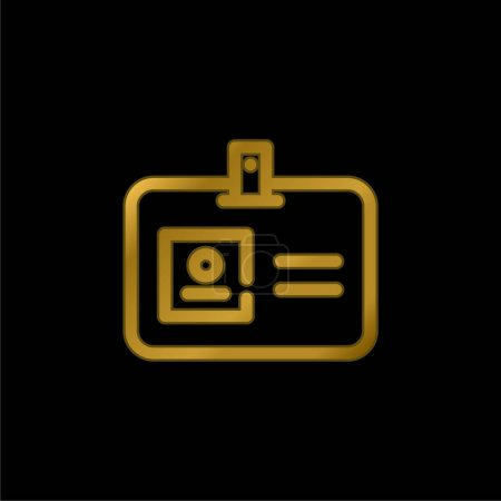 Access Card gold plated metalic icon or logo vector
